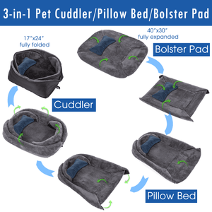 HPZ 4-in-1 Multi-Functions Convertible-Size Bolster Pad/Bed/Cuddler/Carrier for Small/Medium/Large Dogs, Cats and Pets - HPZ Pet Rover USA