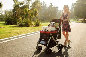 HPZ™ PET ROVER Premium Stroller for Small/Medium/Large Dogs, Cats and Pets (Red) - HPZ Pet Rover USA