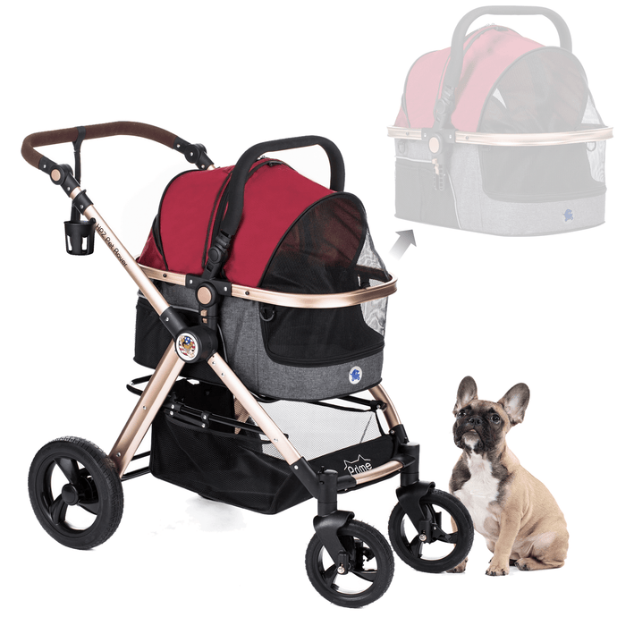 PET ROVER PRIME™ Luxury 3-in-1 Stroller for Small/Medium Dogs, Cats and Pets (Ruby Red)