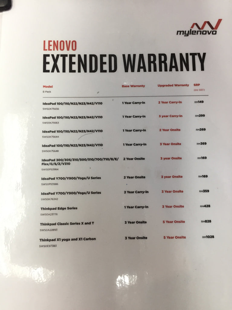 Lenovo Extended and Upgrade Warranty – Mylenovo