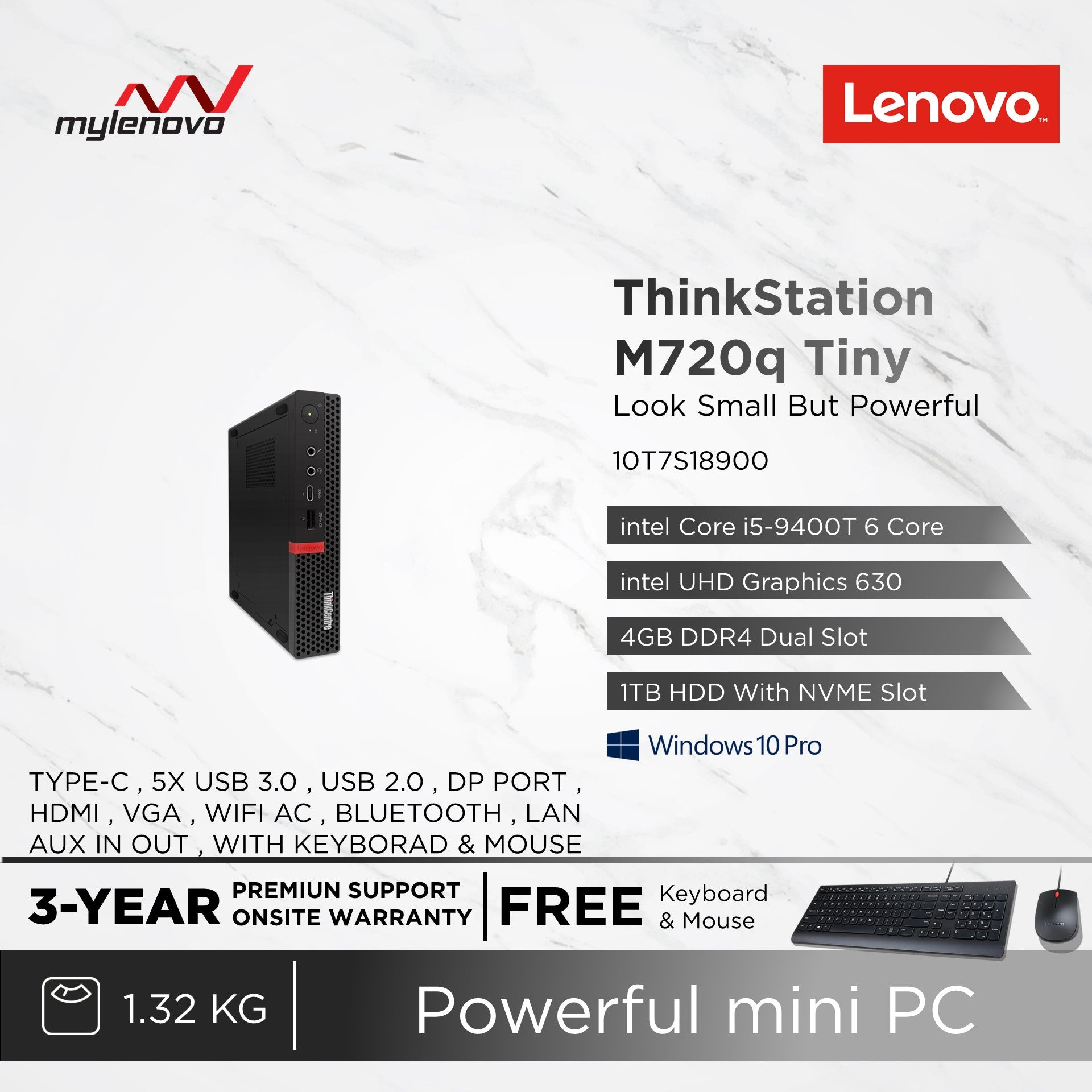 Lenovo ThinkCentre M720q M720 Tiny i5-9400T DIY AIO Router Hackintosh NUC PC NAS Office Business Desktop All in one