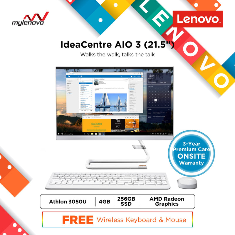 Lenovo IdeaCentre AIO 3 22ADA05 21.5inch AMD Athlon Silver 3050U 4GB 256GB SSD All in One
