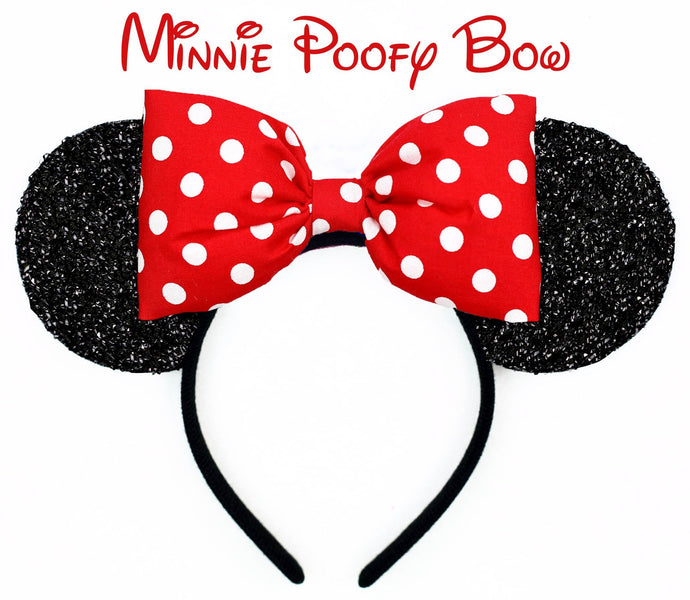 Classic Shimmer or Matte Minnie Mouse Ears with POOFY Polkadot Bow - Pick Your Bow