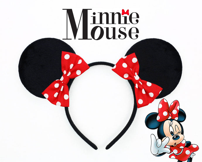 Classic Minnie Mouse Ears with 2 Polkadot Bows
