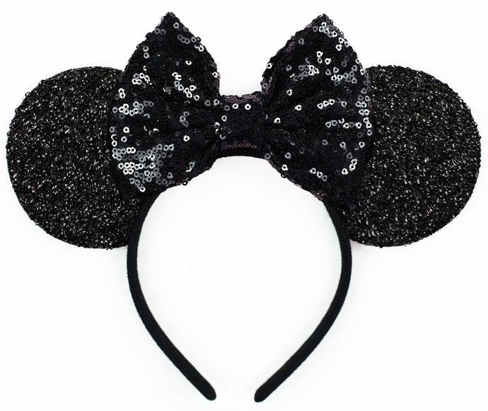 Minnie Mouse Ears with Black Sequin Bow or Pick Your Bow
