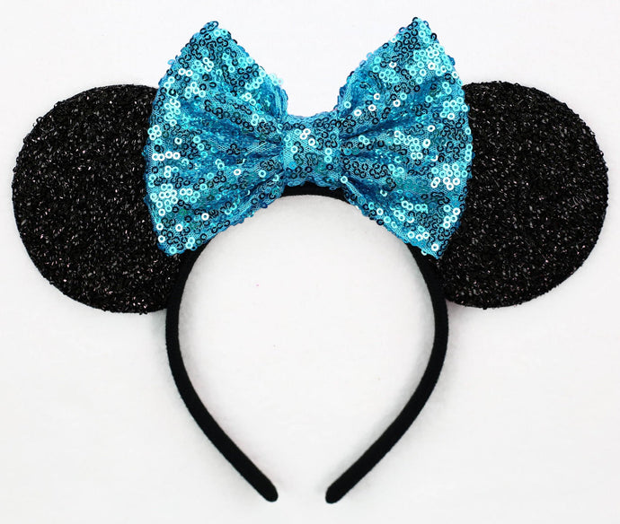 Minnie Mouse Ears with Blue Sequin Bow or Pick Your Bow