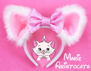 Marie Aristocats Fur Ears with Light or Hot Pink Bow