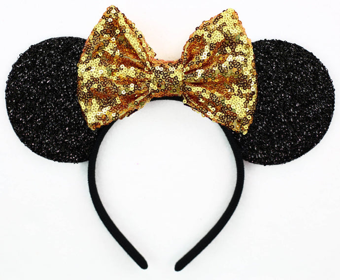 Minnie Mouse Ears with Gold Sequin Bow or Pick Your Bow
