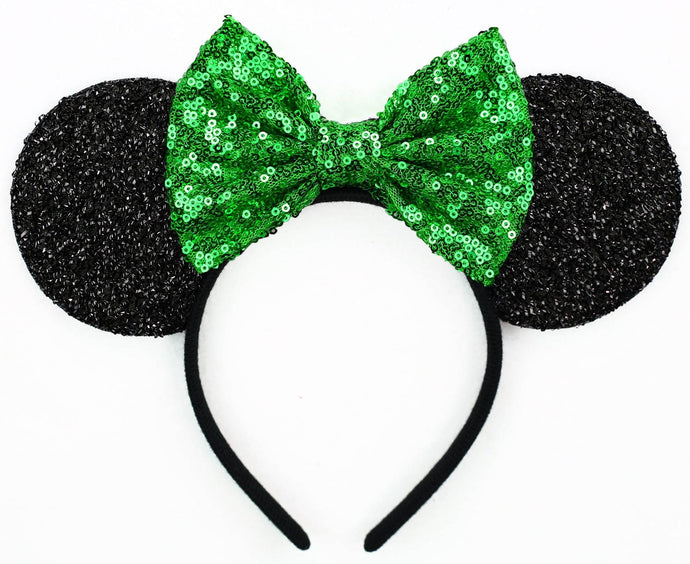 Minnie Mouse Ears with Green Sequin Bow or Pick Your Bow