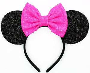Minnie Mouse Ears with Hot Pink Sequin Bow or Pick Your Bow