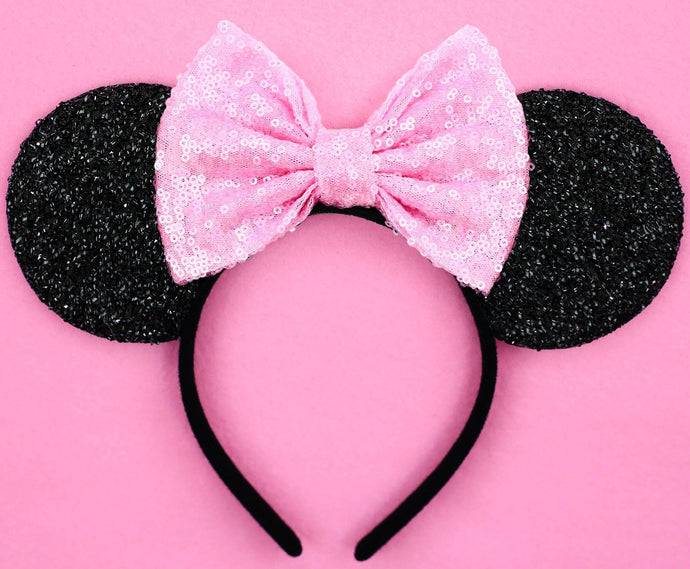 Minnie Mouse Ears with Light Pink Sequin Bow or Pick Your Bow