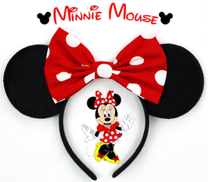 Classic Minnie Mouse Ears with Big Polkadots Bow