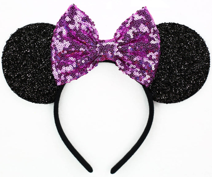 Minnie Mouse Ears with Orchid Sequin Bow or Pick Your Bow