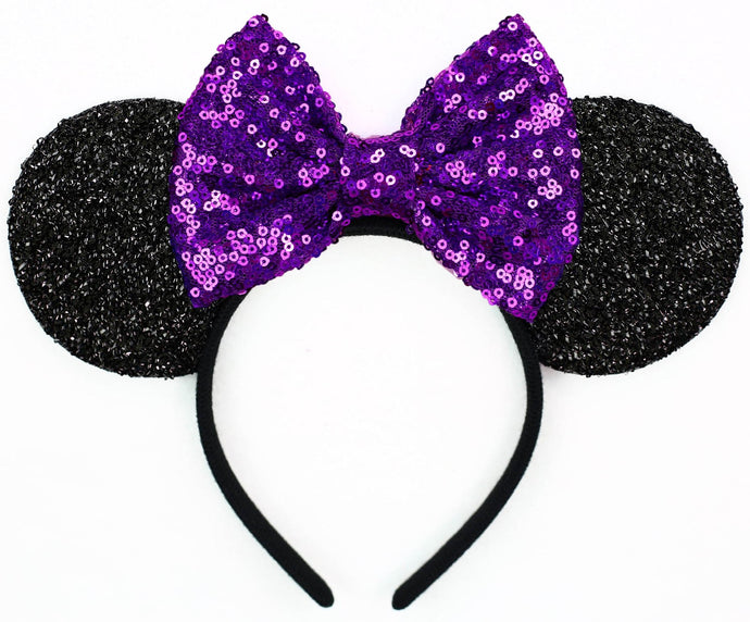 Minnie Mouse Ears with Purple Sequin Bow or Pick Your Bow