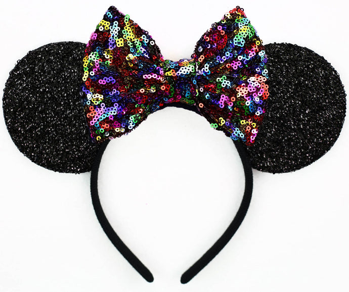 Minnie Mouse Ears with Rainbow Sequin Bow or Pick Your Bow