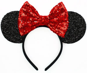 Minnie Mouse Ears with Red Sequin Bow or Pick Your Bow