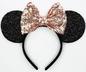 Minnie Mouse Ears with Rose Gold Sequin Bow or Pick Your Bow