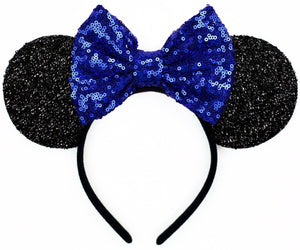 Minnie Mouse Ears with Royal Blue Sequin Bow or Pick Your Bow
