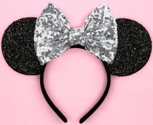 Minnie Mouse Ears with Silver Sequin Bow or Pick Your Bow