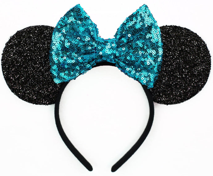 Minnie Mouse Ears with Mermaid Teal Sequin Bow or Pick Your Bow
