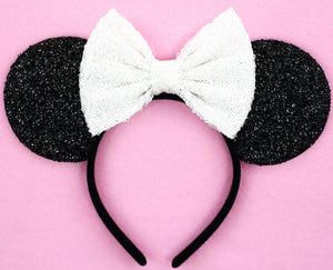 Minnie Mouse Ears with White Sequin Bow or Pick Your Bow