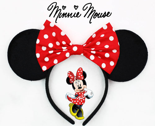 Classic Minnie Mouse Ears with Polkadots Bow