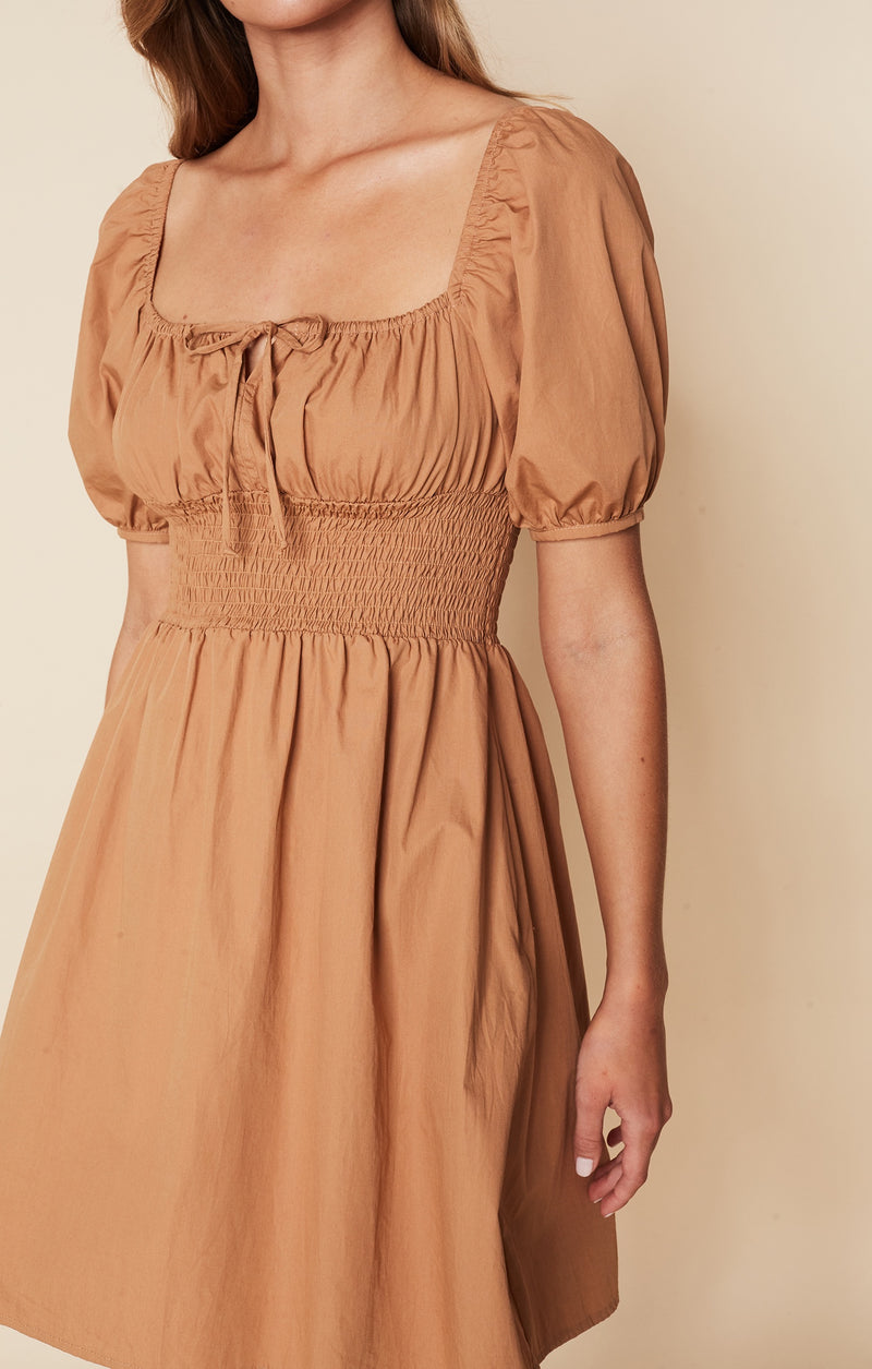SHOP - FAITHFULL - Mariette Mini Dress - Plain Caramel