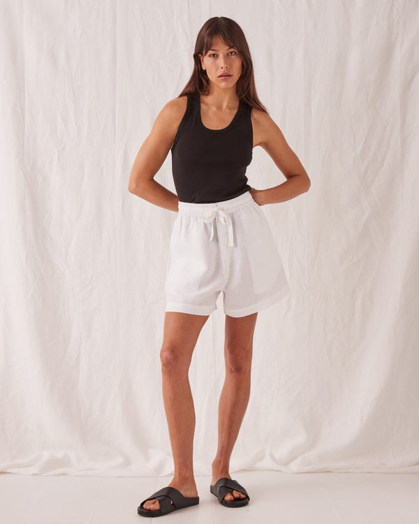 SHOP - ASSEMBLY LABEL - ease linen short - white