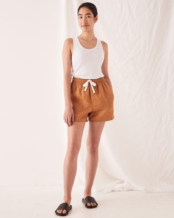 SHOP - ASSEMBLY LABEL - ease linen short - russet