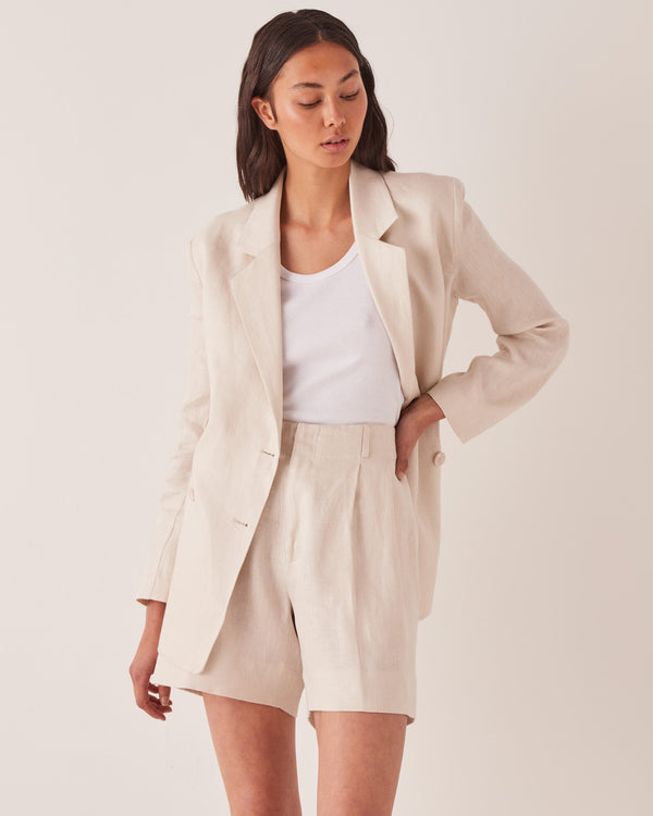 SHOP - ASSEMBLY LABEL - double breasted linen blazer - ivory