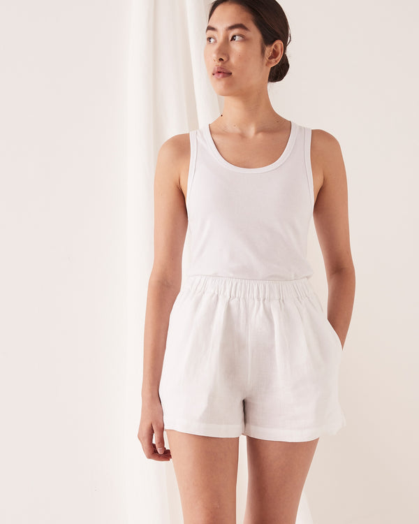 SHOP - ASSEMBLY LABEL - noma linen short - white