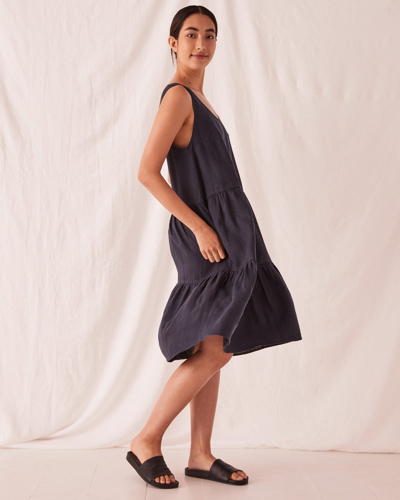 SHOP - ASSEMBLY LABEL - tiered linen dress - true navy
