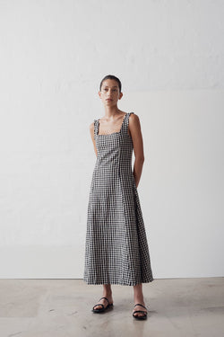 SHOP - MARLE - anouk dress - black/natural check