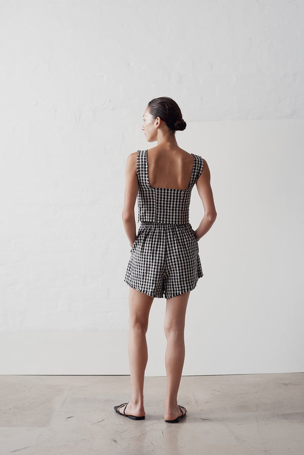 SHOP - MARLE - eloise top - black/natural check