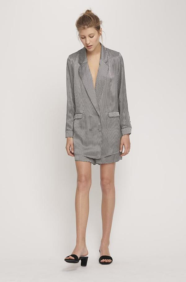 SHOP - Silk Laundry - Relaxed Silk Blazer - Houndstooth