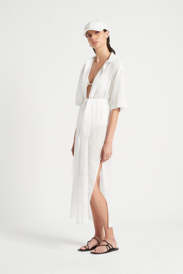 Alina Maxi Shirt Dress - White