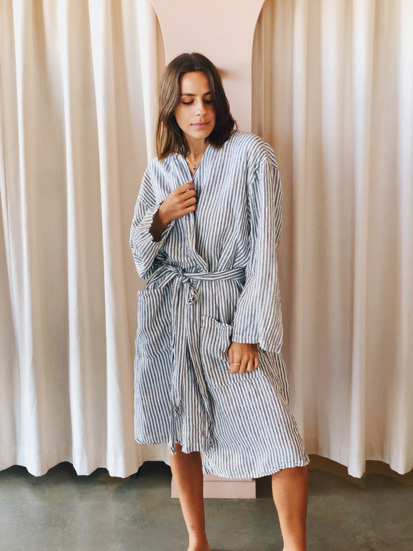 SHOP - LINEN SOCIAL - linen robe - blue stripe