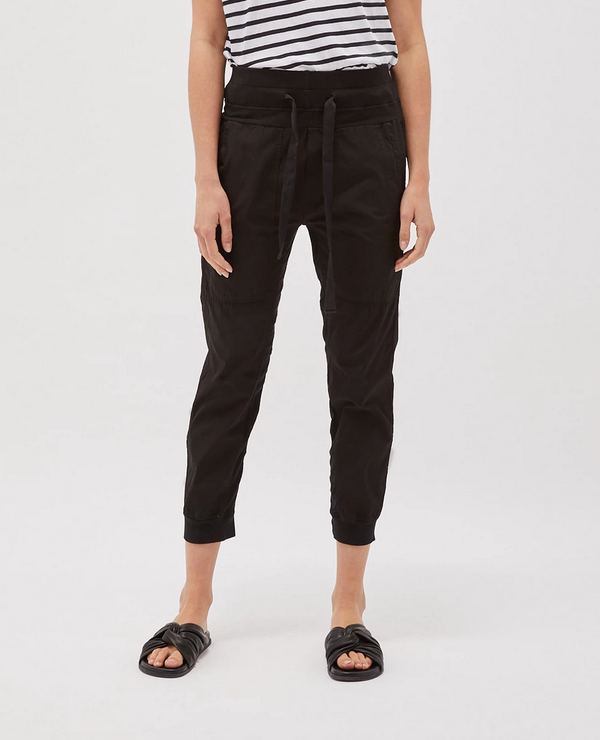 bassike - utility cotton jersey pant - black