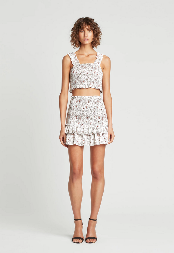 sir the label haisley ruched mini skirt - haisley floral print