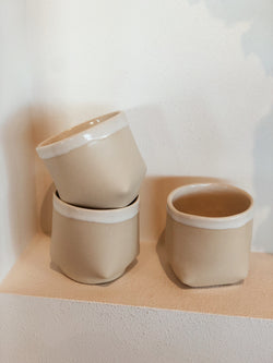 square tea cup -  white