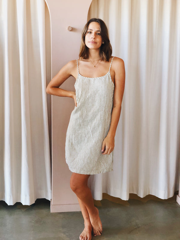 SHOP - LINEN SOCIAL - linen slip dress - dove grey stripe