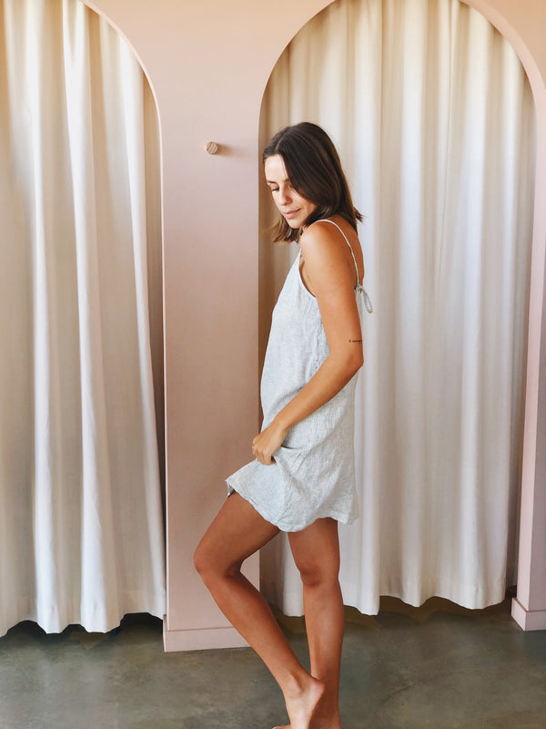SHOP - LINEN SOCIAL - linen slip dress - pinstripe