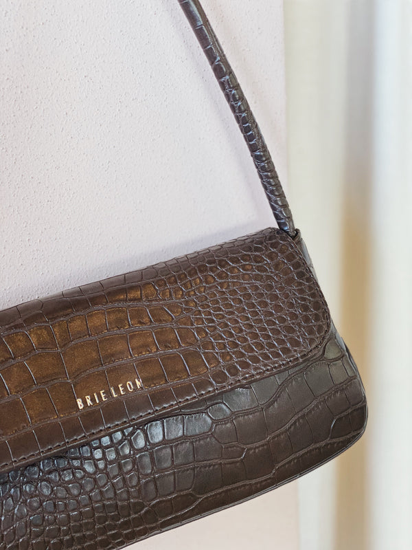 Brie Leon - The Camille Bag - Chocolate Matte Croc
