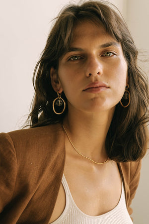 brie leon - large o earrings - gold/mist
