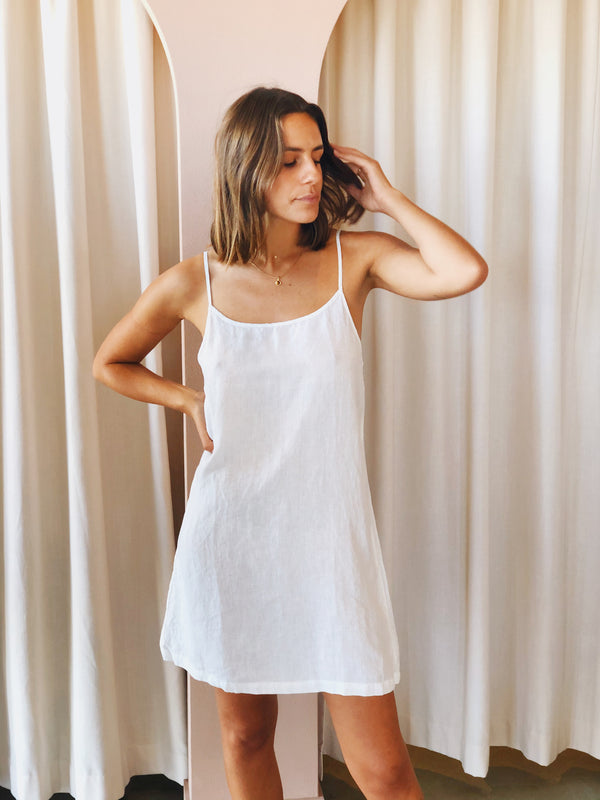 SHOP - LINEN SOCIAL - linen slip dress - white
