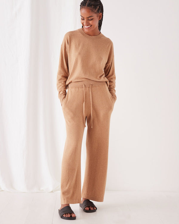 SHOP - ASSEMBLY LABEL - Cotton Cashmere Wide Leg Pant - Taupe