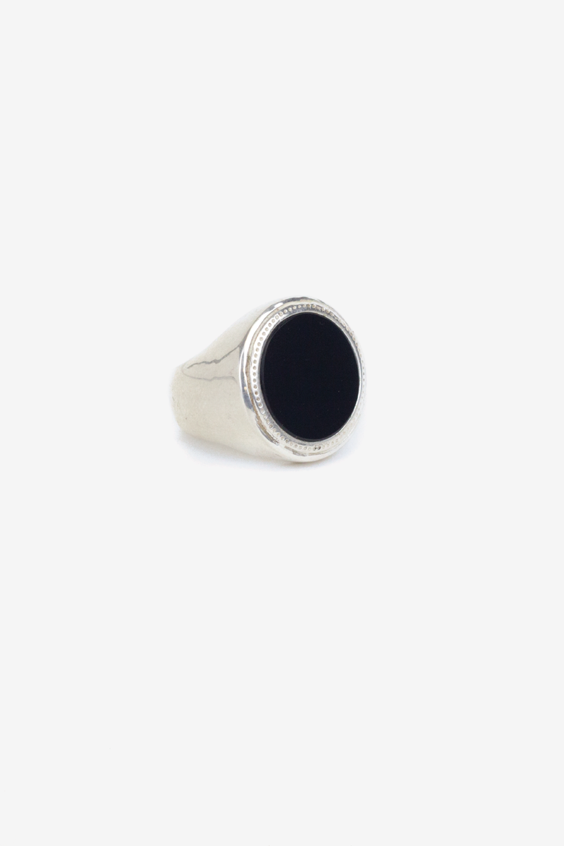 black onyx signet ring - silver