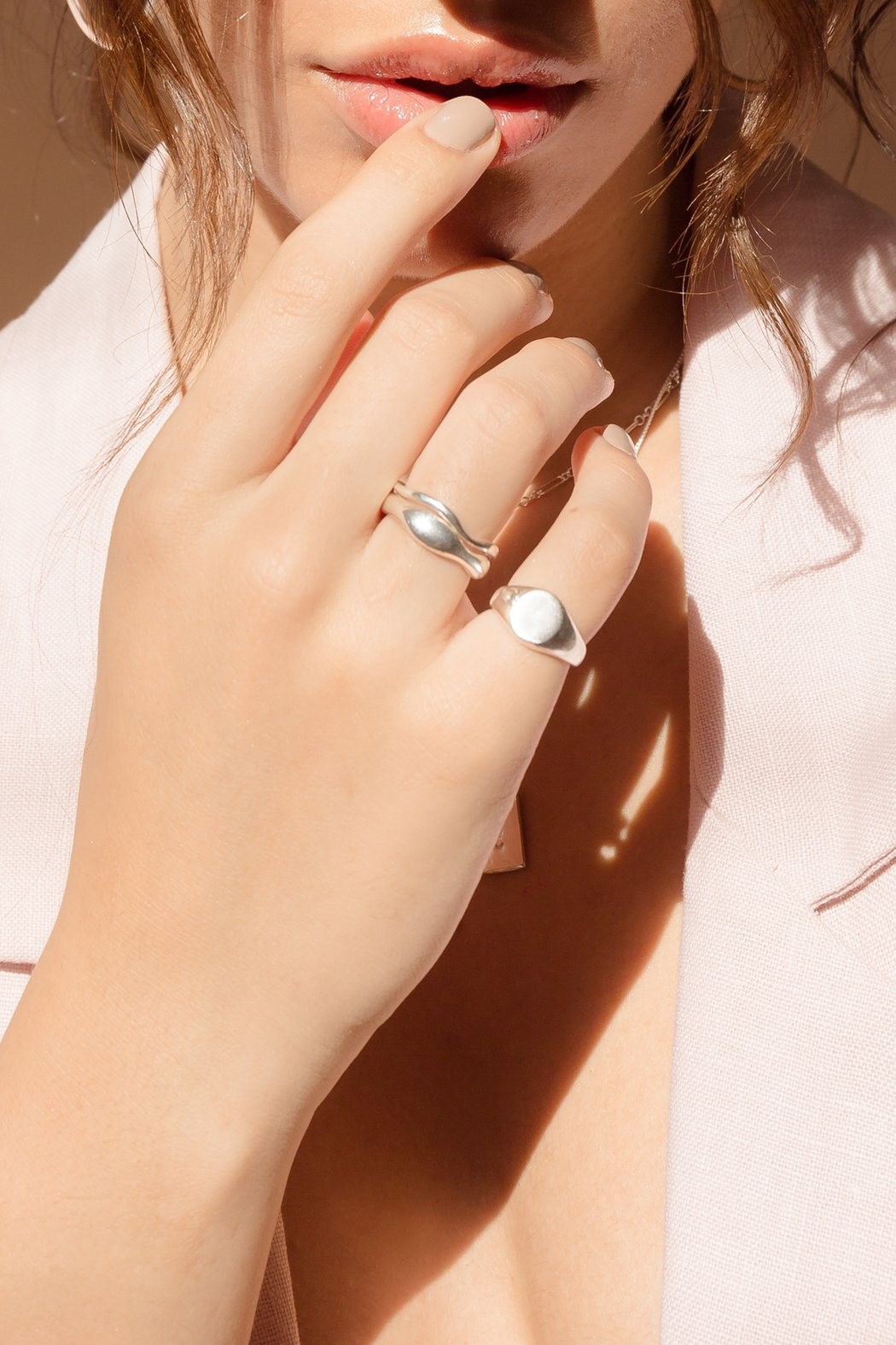 flash - waves ring set - silver