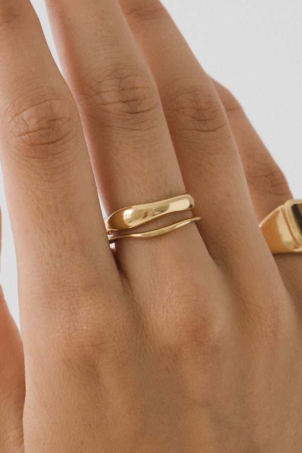 SHOP - FLASH JEWELLERY - waves ring set - 14k gold