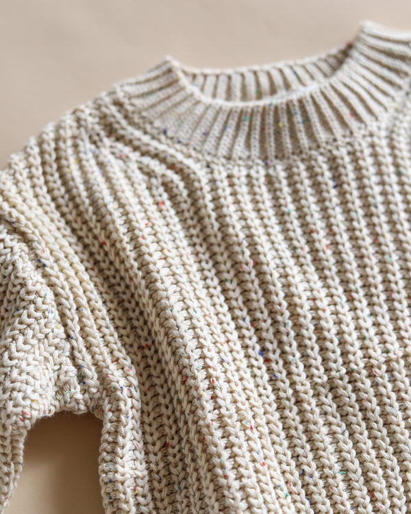 knit jumper - oat speckle